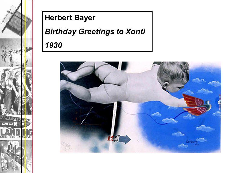 Herbert Bayer Birthday Greetings to Xonti 1930