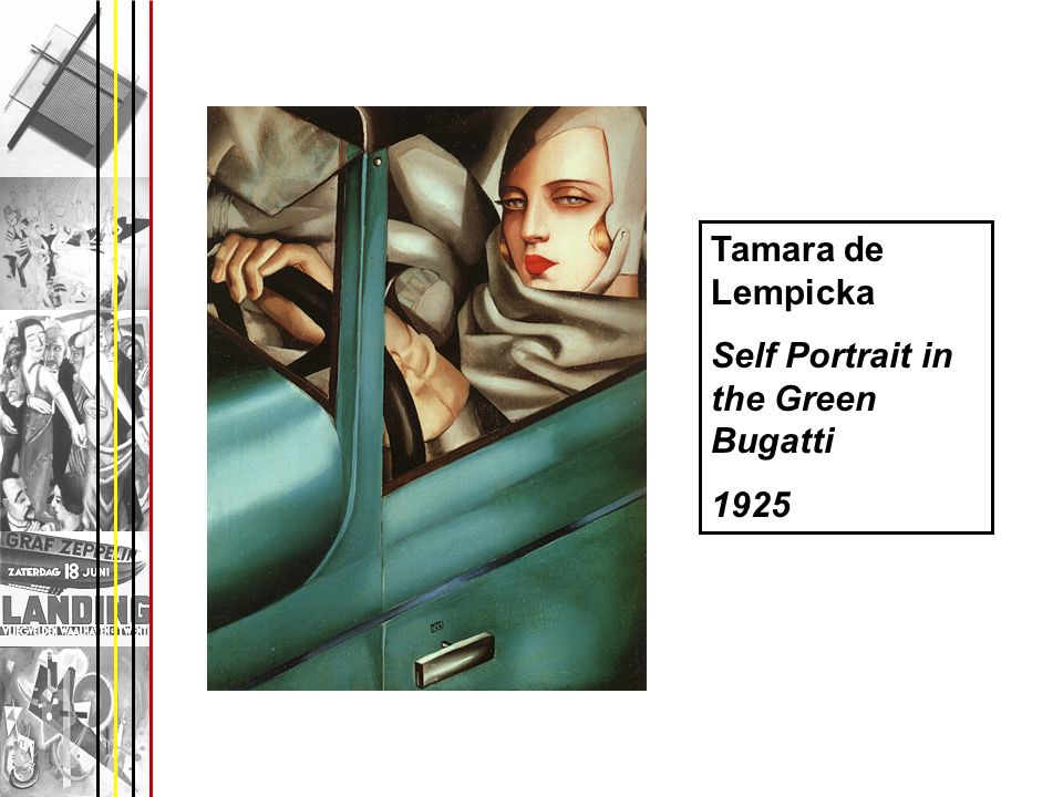 Tamara de Lempicka Self Portrait in the Green Bugatti 1925