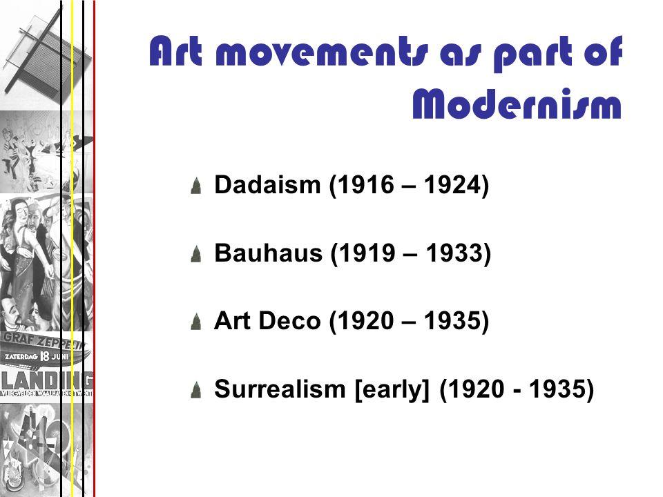Art movements as part of Modernism