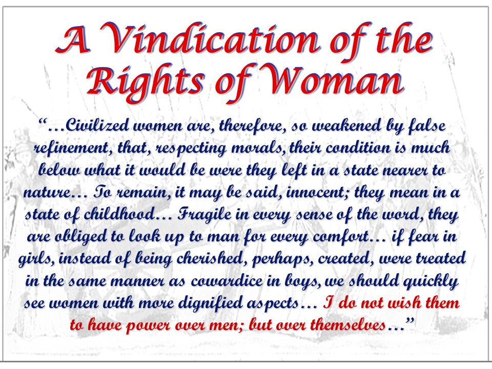 essays on a vindication of the rights of women