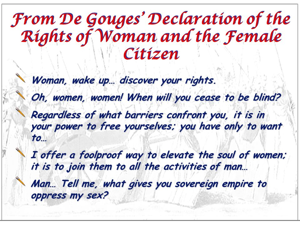 From De Gouges' Declaration of the Rights of Woman and the Female Citizen