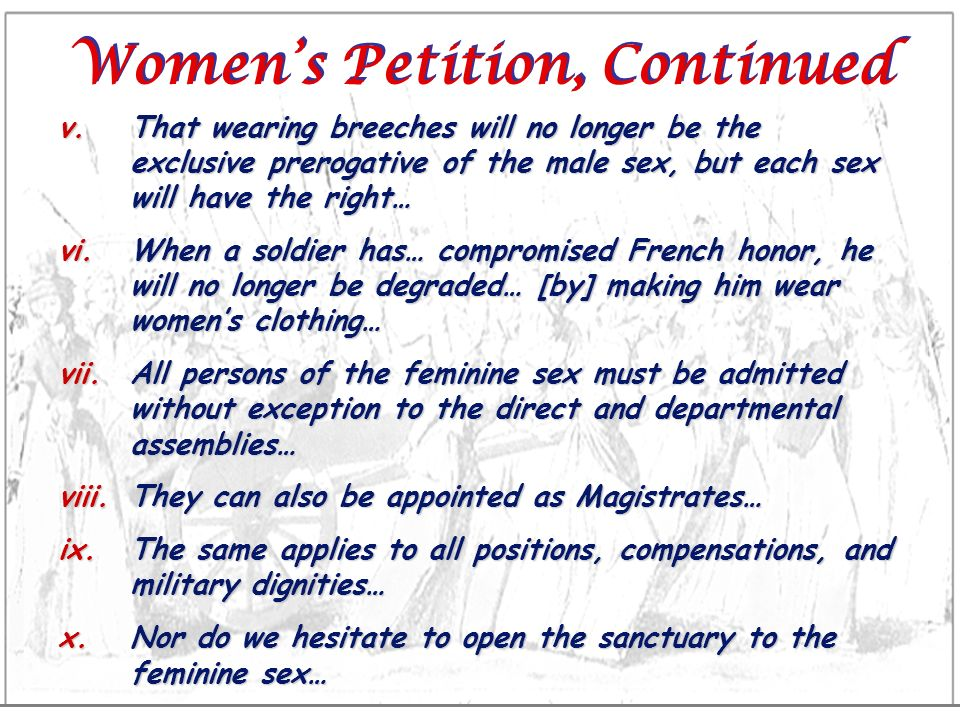 Women's Petition, Continued