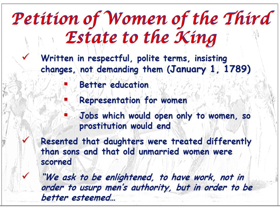 Petition of Women of the Third Estate to the King
