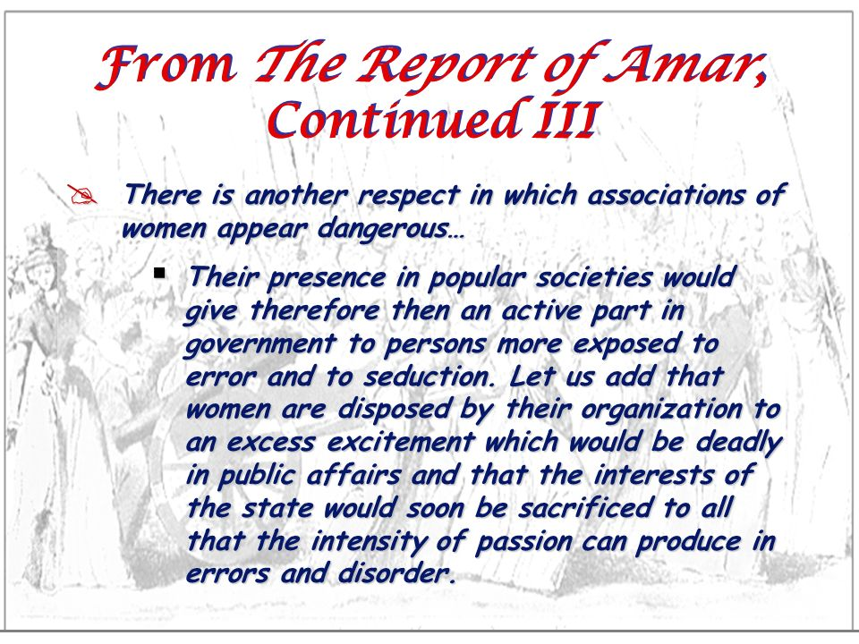 From The Report of Amar, Continued III