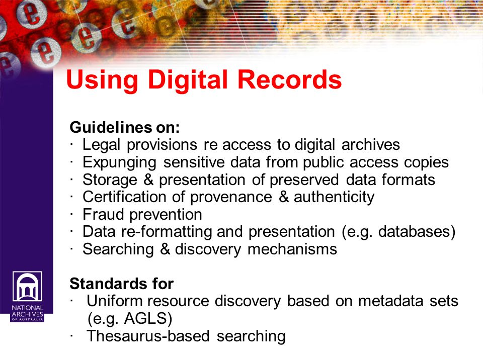 Using Digital Records Guidelines on: