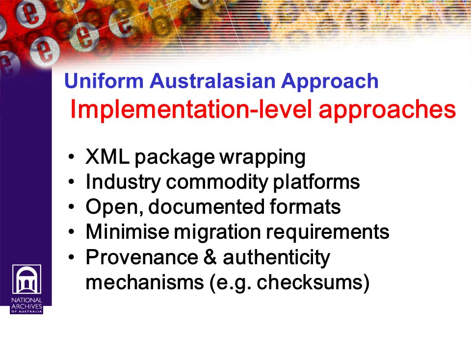 Uniform Australasian Approach Implementation-level approaches
