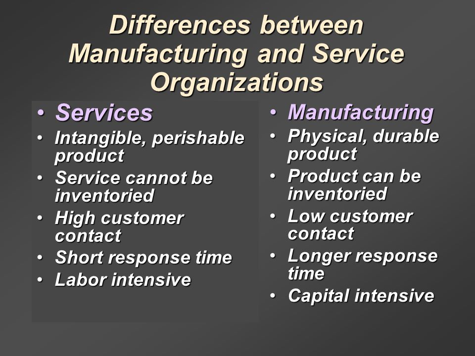 """difference between manufacturing and services sector Strategy is different in service businesses in the computer services industry the set of """"canned the quality difference between first-class and."""