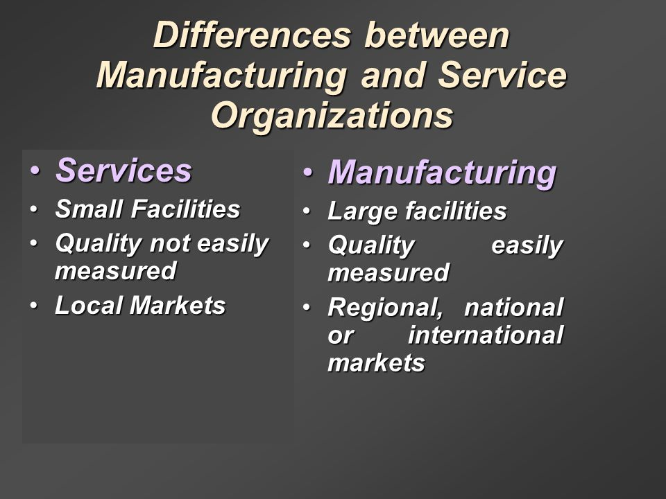 difference between manufacturing and service locations There are many other differences between manufacturing and service industries that will be talked about in this article manufacturing all consumer products and machinery used in manufacturing of products fall within the manufacturing sector.