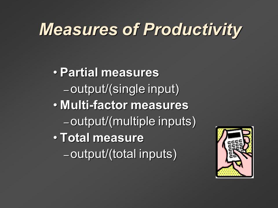 total measure productivity partial measure productivity and multi factor measure productivity The productivity concept: definition, measurement and  is a partial productivity measure  the total factor productivity gain can be represented as a.