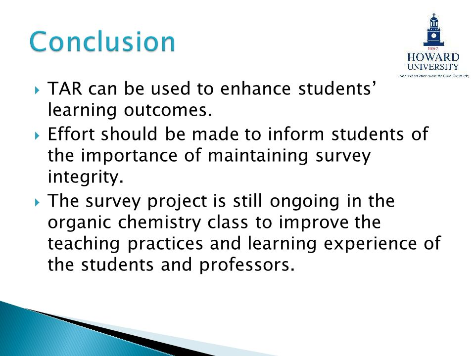 Conclusion TAR can be used to enhance students' learning outcomes.
