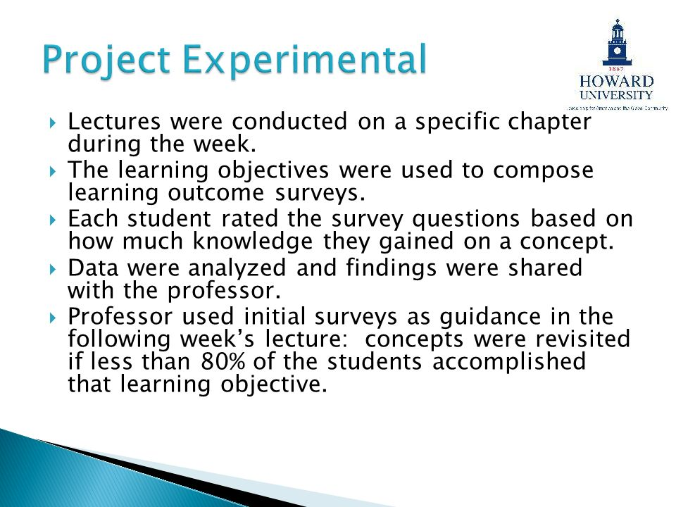 Project Experimental Lectures were conducted on a specific chapter during the week.