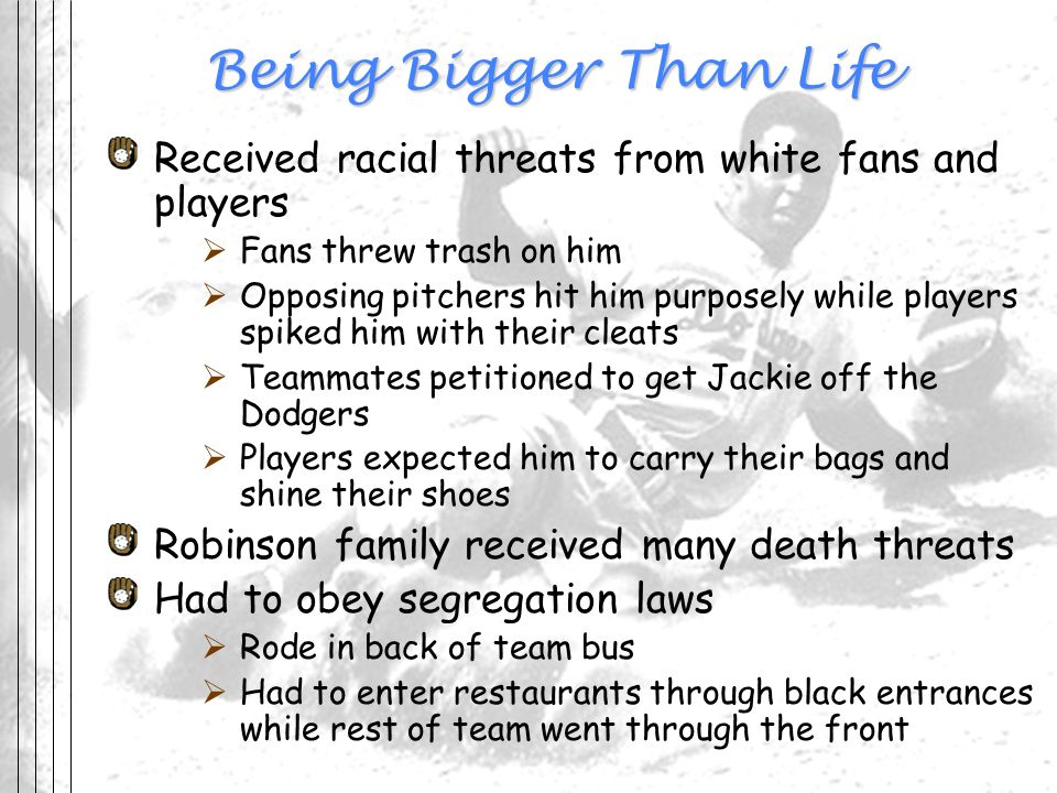 Being Bigger Than Life Received racial threats from white fans and players. Fans threw trash on him.