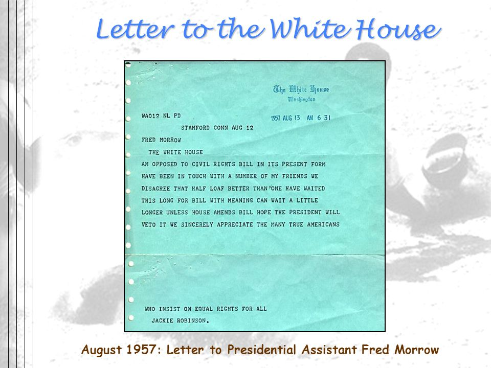 Letter to the White House