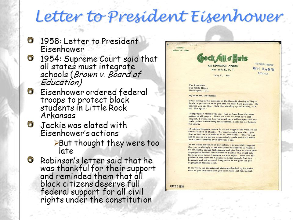 Letter to President Eisenhower