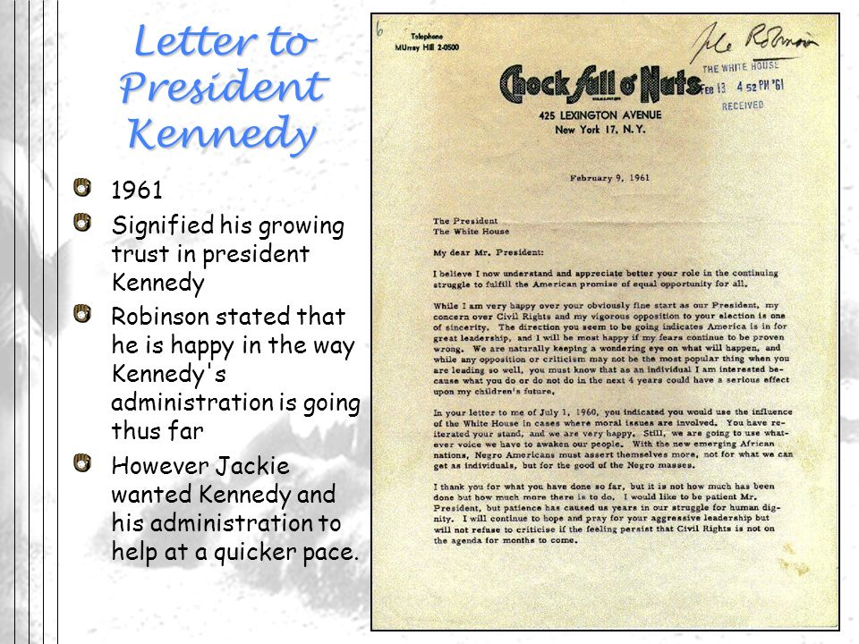 Letter to President Kennedy