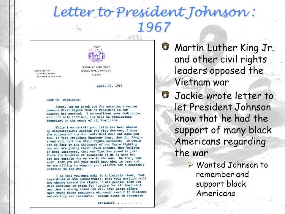 Letter to President Johnson : 1967