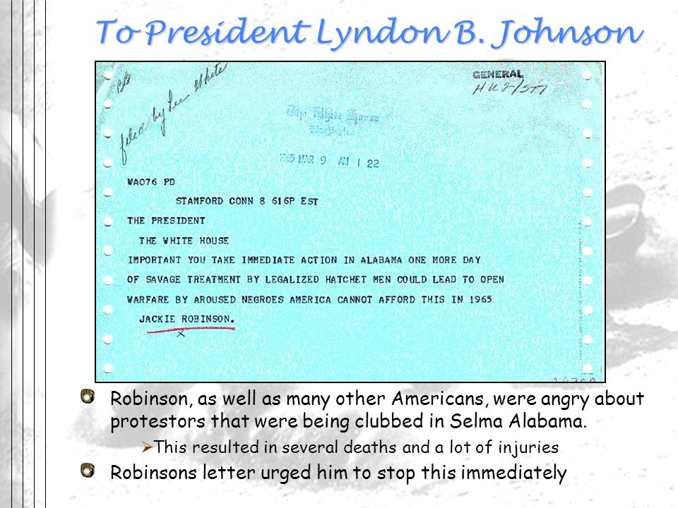 To President Lyndon B. Johnson