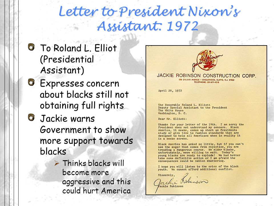 Letter to President Nixon's Assistant: 1972