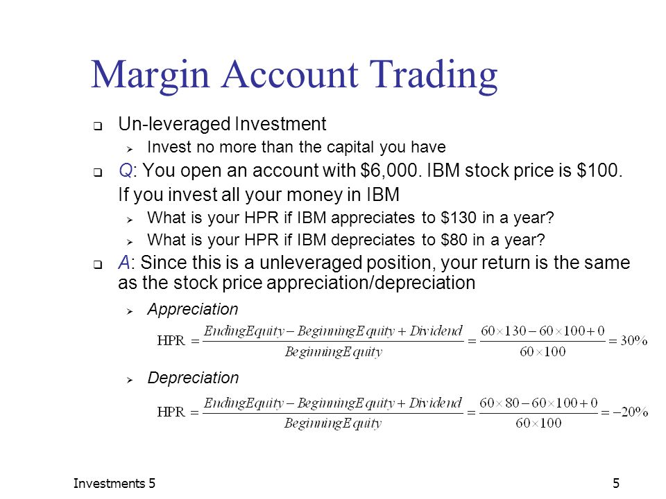 Margin account options trading