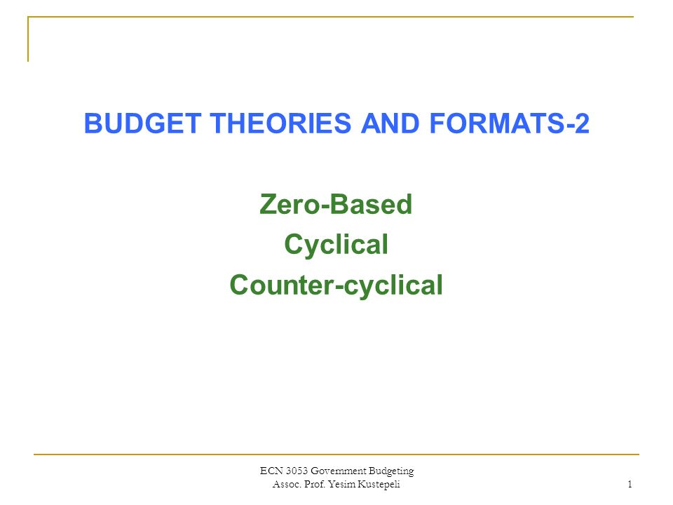 budgeting formats