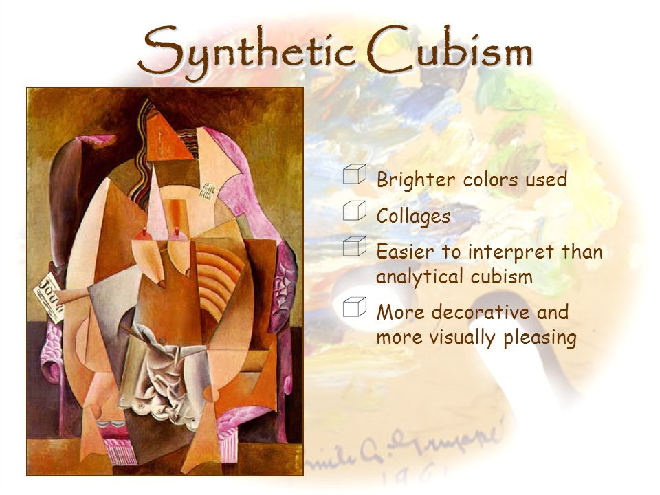 Synthetic Cubism Brighter colors used Collages
