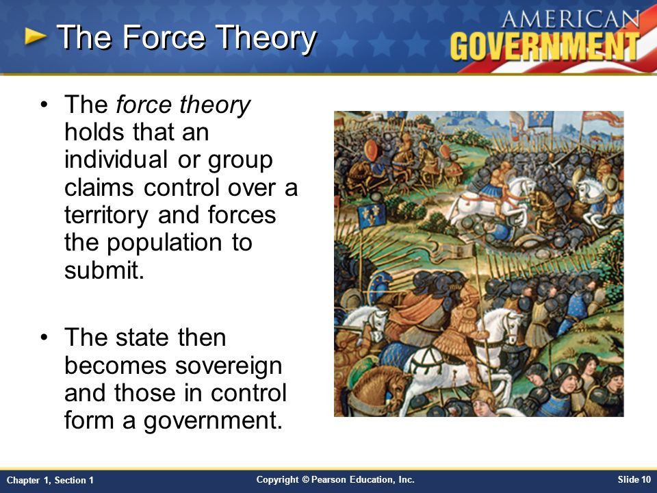 The Force Theory The force theory holds that an individual or group claims control over a territory and forces the population to submit.