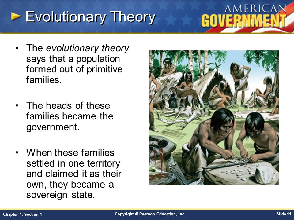 Evolutionary Theory The evolutionary theory says that a population formed out of primitive families.