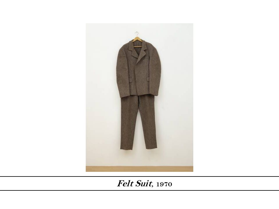 The felt suit meets Beuy's dimensions and is looked at as a self-portrait. However, Beuys takes it to the 3-d level and makes it more tangible to the audience. Quote: Not even physical warmth is meant... Actually I meant a completely different kind of warmth, namely spiritual or evolutionary warmth or the beginning of an evolution.