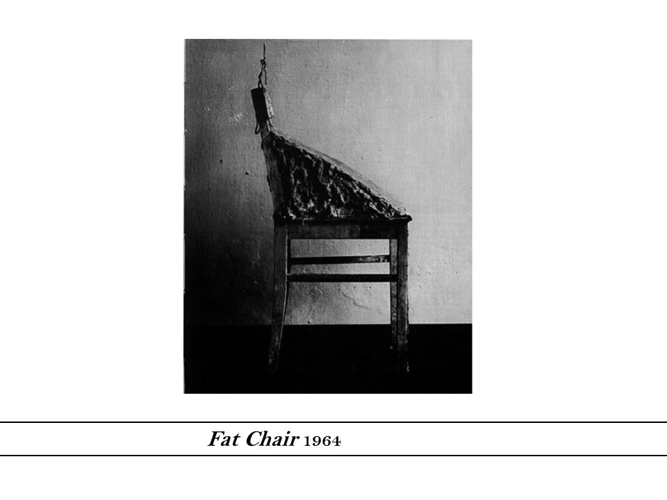 Beuys' Fat Chair directly commented on the way things are supposed to be in a society. He believed that challenging society is important for it to eventually change. The fat chair was made out of wood, metal and actual fat.