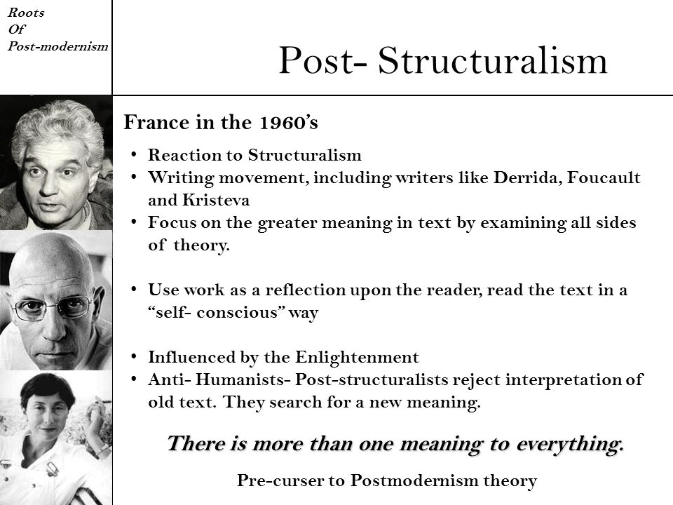 Post- Structuralism France in the 1960's