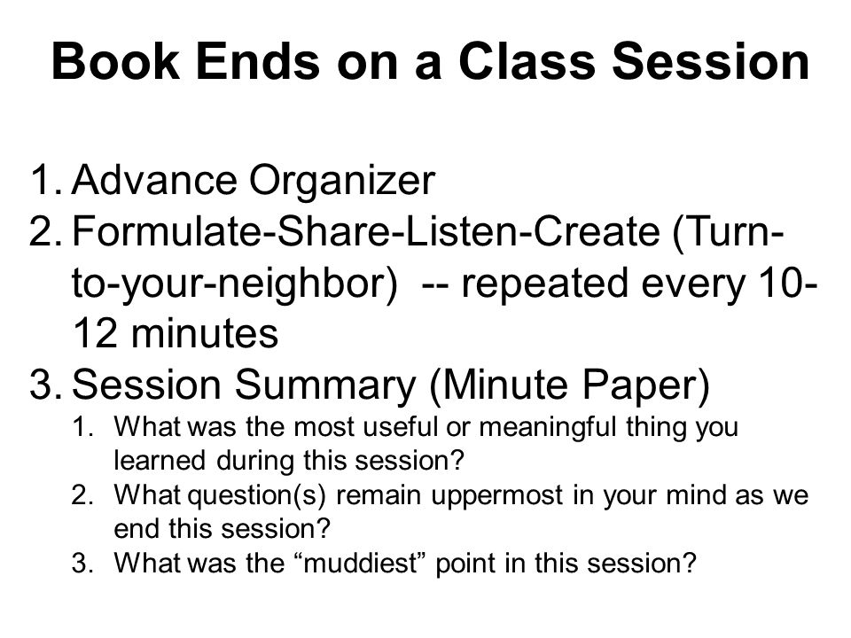 Book Ends on a Class Session