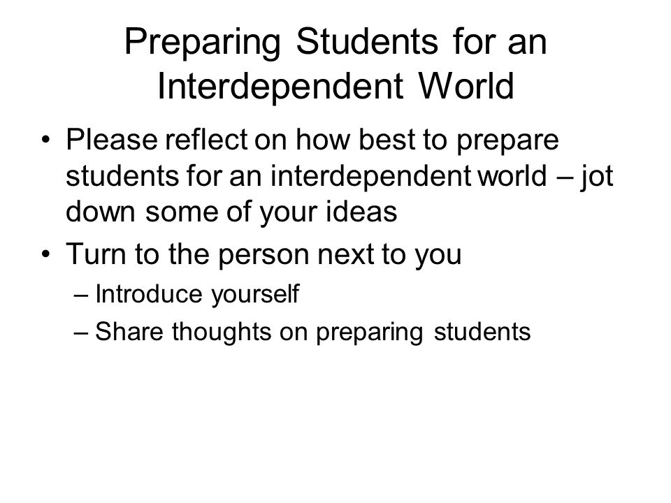 Preparing Students for an Interdependent World