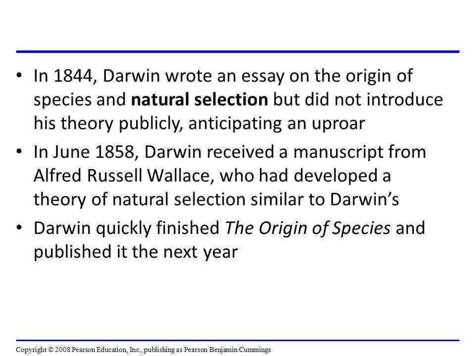 essays on the origin of species Science essays: analysis of charles darwin's origin of the species.