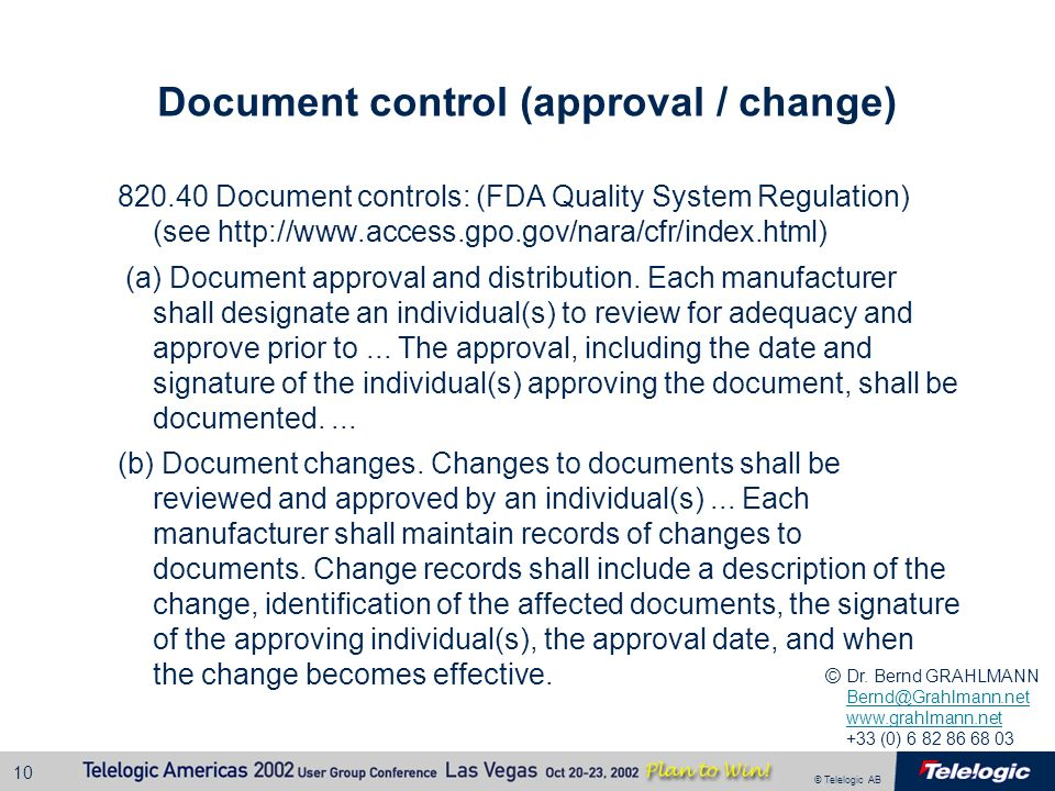 Document control (approval / change)
