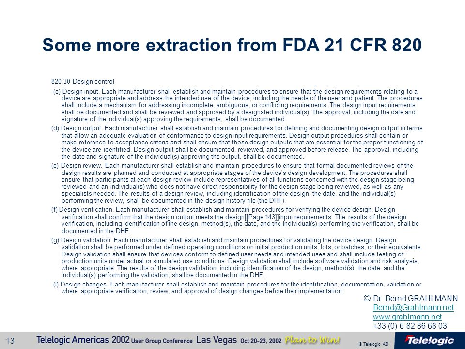 Some more extraction from FDA 21 CFR 820