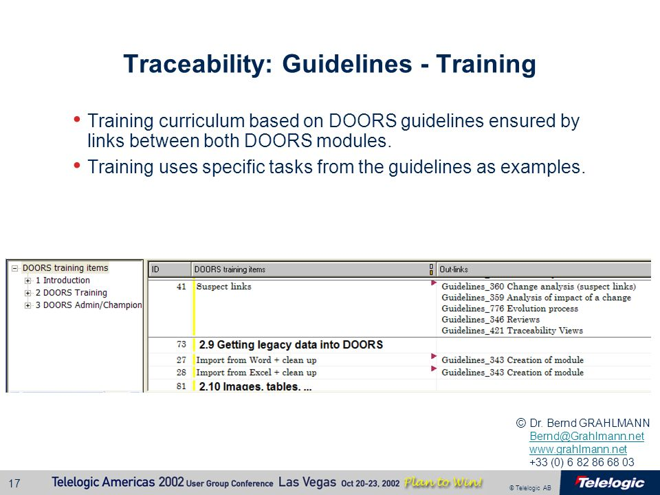 Traceability: Guidelines - Training