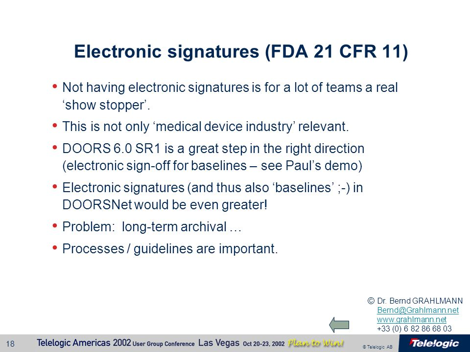 Electronic signatures (FDA 21 CFR 11)