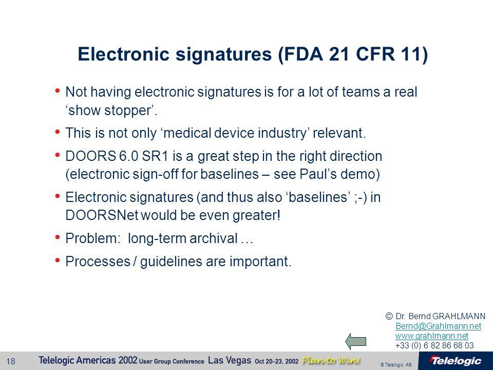 Electronic signatures (FDA 21 CFR 11)