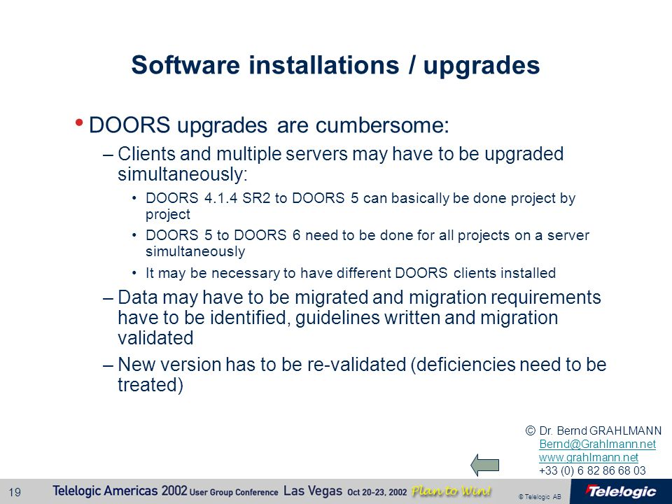 Software installations / upgrades