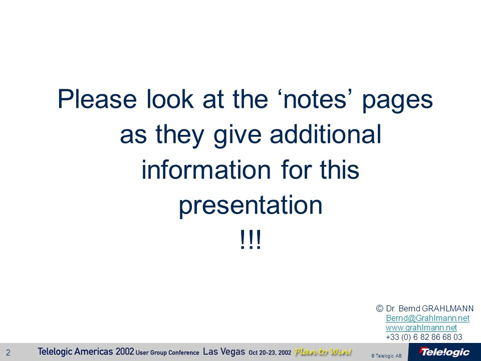 Please look at the 'notes' pages as they give additional information for this presentation !!!