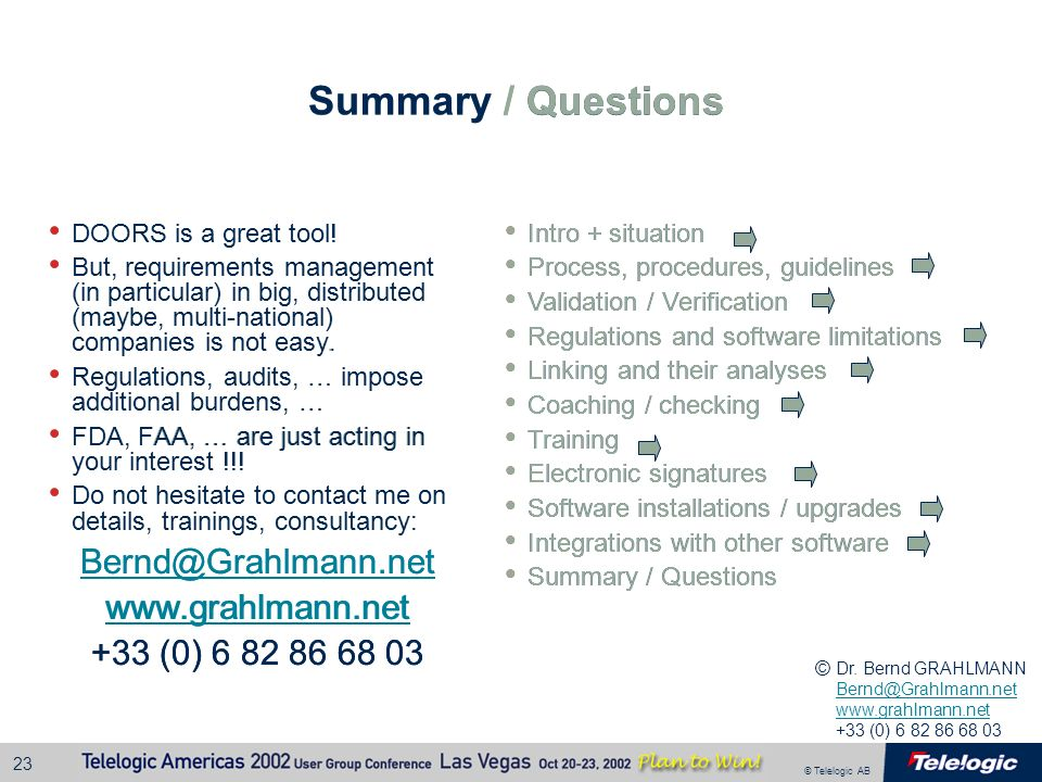 Summary / Questions Summary / Questions