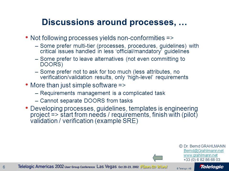 Discussions around processes, …
