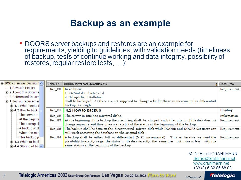 Backup as an example