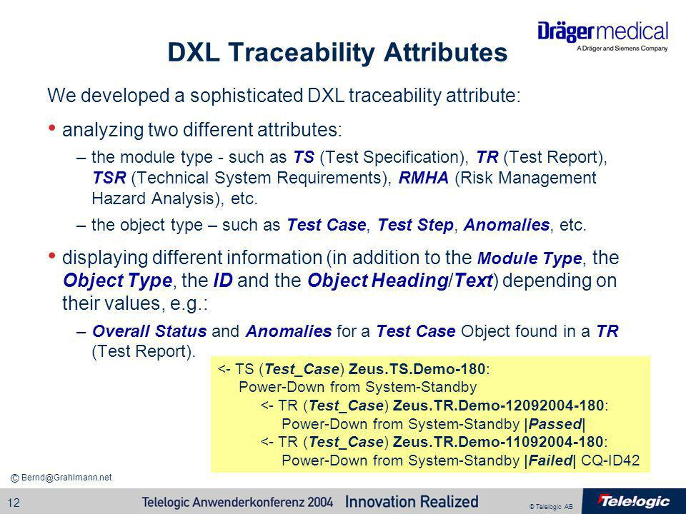DXL Traceability Attributes