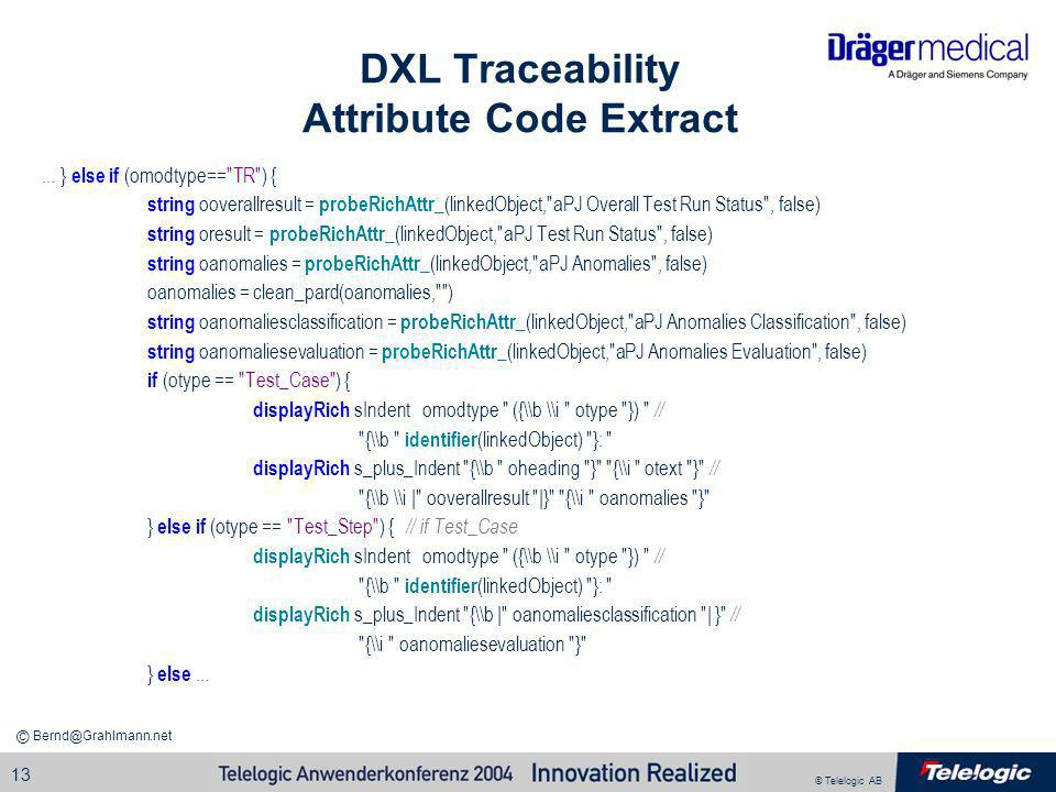 DXL Traceability Attribute Code Extract