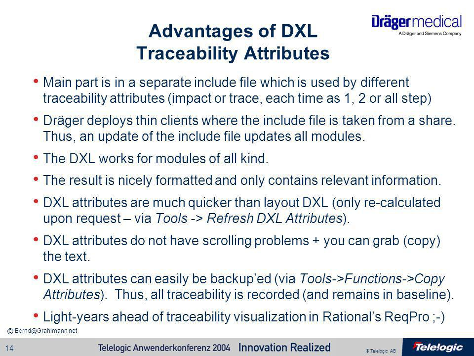 Advantages of DXL Traceability Attributes