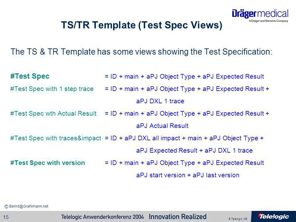 TS/TR Template (Test Spec Views)