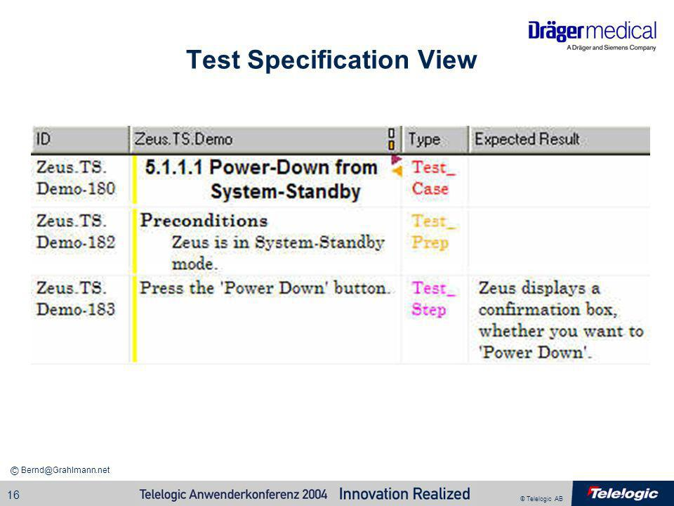 Test Specification View
