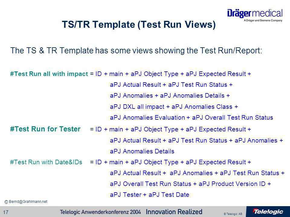 TS/TR Template (Test Run Views)