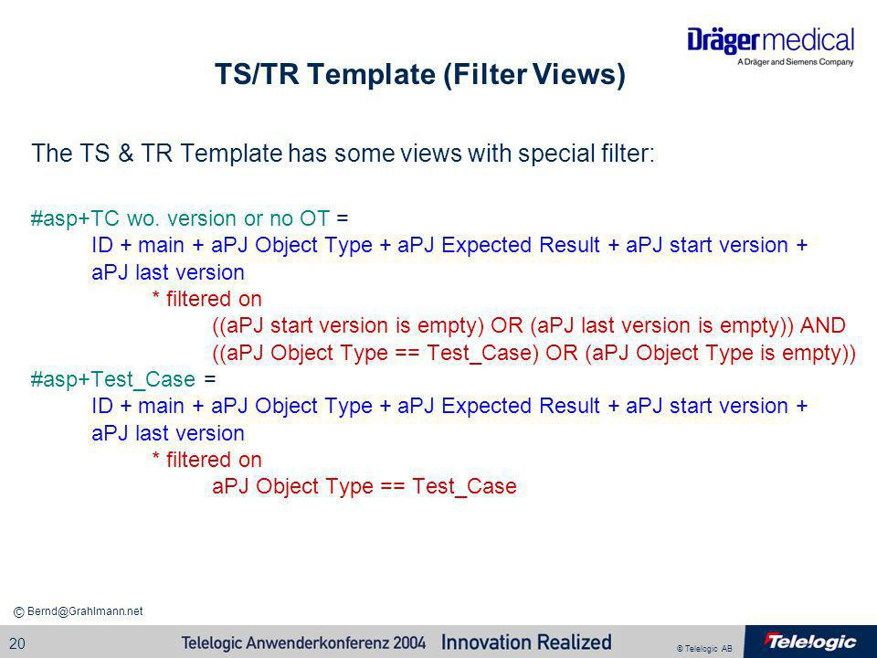 TS/TR Template (Filter Views)